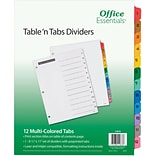 Office Essentials Table N Tabs Dividers, 1-12 Multicolor Tabs,  1 Set (11673)