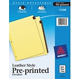 Avery® Leather Preprinted Dividers, Jan-Dec Tab, Red Leather, 8 1/2 x 11, 1/St
