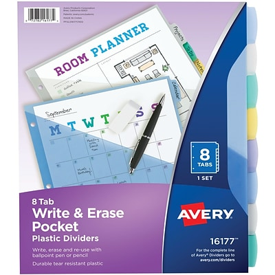 Avery Write & Erase Durable Plastic Dividers with Pockets, 8 Multicolor Tabs, 1 Set (16177)