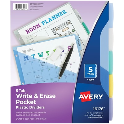 Avery Write & Erase Durable Plastic Dividers with Pockets, 5 Multicolor Tabs, 1 Set (16176)