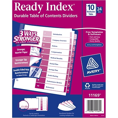 Avery® 10-Tab Ready Index® Multicolor Table of Contents Dividers, 24 Sets/Pack