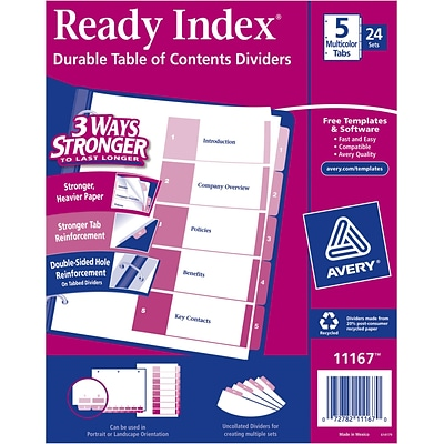 Avery Ready Index Table of Contents Dividers, 5 Multicolor Tabs, 24 Sets (11167)