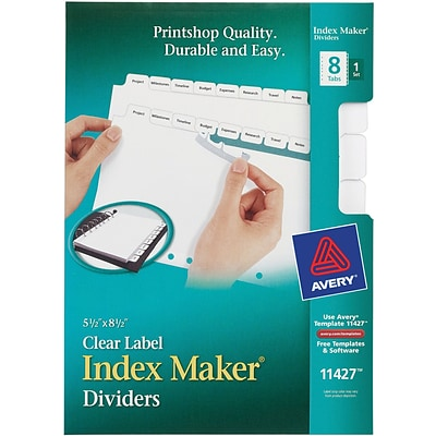 avery 5 1 2x8 1 2 memo size index maker printable dividers clear