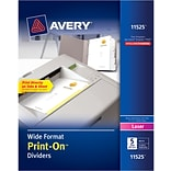 Avery® 11525 Wide Format Print-On™ Dividers, White, 5 Tabs, 25 Sets