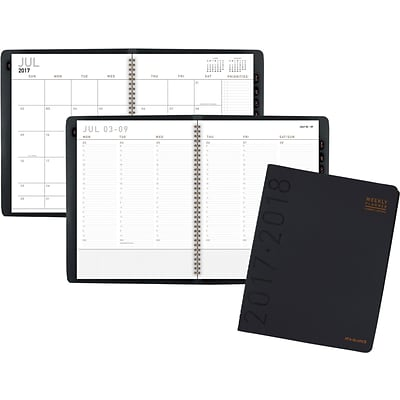 2017-2018 AT-A-GLANCE® Academic Contemporary Weekly / Monthly Appointment Book/Planner, 12 Months, Black, 8-1/4 x 10-7/8