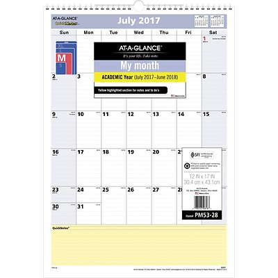 2017-2018 AT-A-GLANCE® QuickNotes® Academic Monthly Wall Calendar, 12 Months, 12 x 17