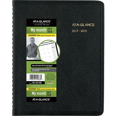 2017-2018 AT-A-GLANCE® Academic Monthly Planner, 18 Months, Black, 6-7/8 x 8-3/4