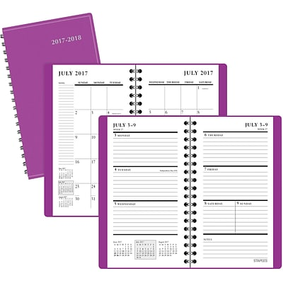2017-2018 Staples® Academic  Weekly/Monthly Pocket 14 Months Planner, Purple, 3-1/2 x 6-3/8