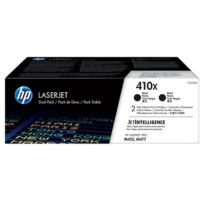 HP 410X Black High Yield Toner Cartridges, 2 Pack (CF410XD)