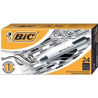 BIC® Clic Stic® Retractable Ballpoint Pens, Medium Point, Black Ink, 24/Pack