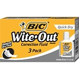 BIC Wite-Out Quick Dry Correction Fluid, 3/Pk (WOFQD3)