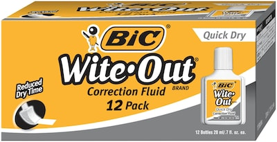 BIC Wite-Out Quick Dry Correction Fluid, 12/Pk (WOFQD12Q)