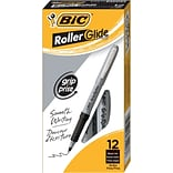 BIC Grip Rollers Pens, Fine Point, Black Ink, Dozen (31203)
