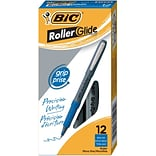 BIC Grip Rollers Rollerball Pen, Extra Fine Point, Blue Ink, Dozen (31195)