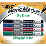 BIC Magic Marker Fine Point Dry Erase Markers, Assorted, 4/Pk (GELIPP41AST)