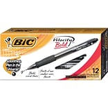 BIC Velocity Retractable Ballpoint Pens, Bold Point, Black Ink, Dozen (18510/VLGB11BK)