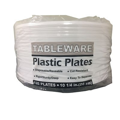 Tablemate® Disposable Round Plastic Plate, 10 1/4(Dia), White, 125/Pack