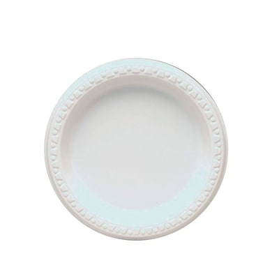 Tablemate® Disposable Round Plastic Plate, 6(Dia), White, 125/Pack