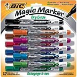 BIC Magic Marker Fine Point Dry Erase Markers, Assorted, 12/Pk (GELIPP121AST)