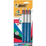 BIC 4-Color Retractable Ballpoint Pens, Medium Point, Assorted Ink, 3/Pack (14540)