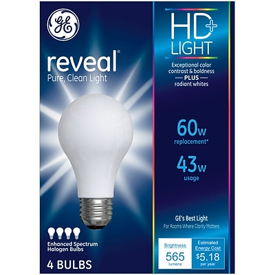 GE Reveal® 43 Watt Frost A19 Halogen (67770)