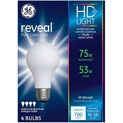 GE Reveal® 53 Watt Frost A19 Halogen (67773)