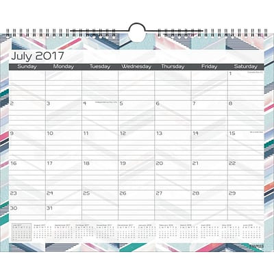 2017-2018 Staples® Academic Monthly Medium Wall Calendar, Watercolor Chevron, 12 Months, 14-7/8 x 11-7/8