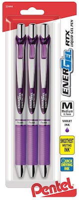 Pentel® EnerGel RTX® Retractable Gel-Ink Pens, Medium Point, Violet, 3/Pack