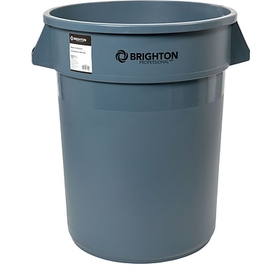 Brighton Professional™ Round Trash Container, Gray, 32 Gallon