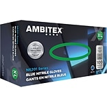 Ambitex® Disposable Gloves, Nitrile, Extra Large, Blue, Powder-Free, 6mil, 100/Bx