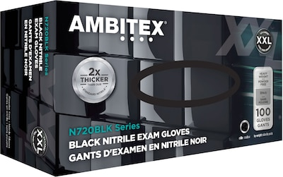 Ambitex(r) Disposable Exam Gloves, Nitrile, XX Large, Black, Powder Free, 6mil, 100/Bx