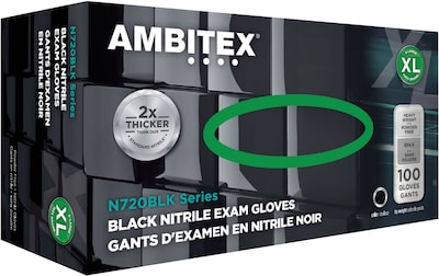Ambitex(r) Disposable Exam Gloves; Nitrile, Extra Large, Black, Powder Free, 6mil, 100/Bx, 10 Bx/Carto