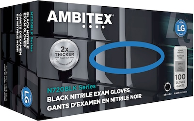Ambitex(r) Disposable Exam Gloves, Nitrile, Large, Black, Powder Free, 6mil, 100/Bx
