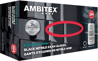 Ambitex(r) Disposable Exam Gloves, Nitrile, Small, Black, Powder Free, 6mil, 100/Bx