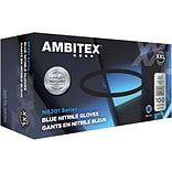 Ambitex® Disposable Gloves, Nitrile, XX Large, Blue, Powder-Free, 6mil, 100/Bx