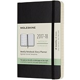 2017-2018 Moleskine Academic Weekly Pocket Soft Cover Notebook 18 Monthly Planner, Black