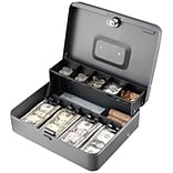 MMF Industries™ STEELMASTER® Tiered Tray Cash Box, Charcoal Gray, 3 3/16H x 11 13/16W x 9 7/16D (