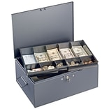 MMF Industries™ STEELMASTER® Cash Box with Ten-Compartment Tray, Gray, 6 1/8H x 15 1/4W x 11 1/8D
