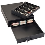MMF Industries™ STEELMASTER® Compact Locking Cash Drawer, Black, 3 7/8H x 13W x 16D