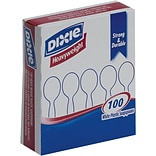 Dixie® Grab-n-Go® Heavy-Weight Polystyrene Plastic Soup Spoons by GP PRO, White, 100/Pack (SH207)