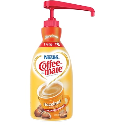 Nestle® Coffee-mate® Coffee Creamer, Hazelnut, 1.5L Liquid Pump Bottle, 1 Each