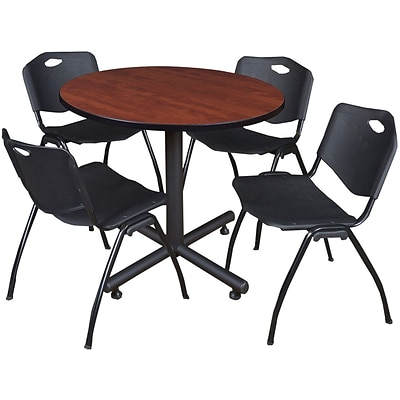 Regency Seating Kobe 42 Round Breakroom Table- Cherry & 4 M Stack Chairs- Black