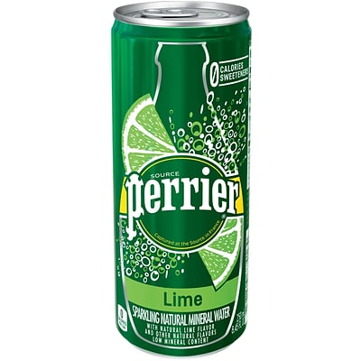 Perrier® Sparkling Natural Mineral Water, Lime, 8.45 oz. Slim Can, 10/Pk