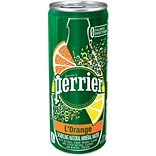 Perrier® Sparkling Natural Mineral Water, LOrange/Lemon Orange, 8.45oz. Slim Can, 10/Pk