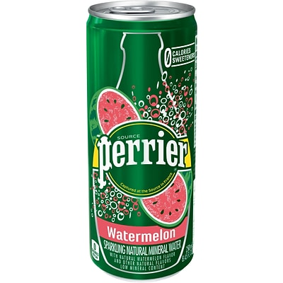 Perrier® Sparkling Natural Mineral Water, Watermelon, 8.45oz. Slim Can, 10/PK
