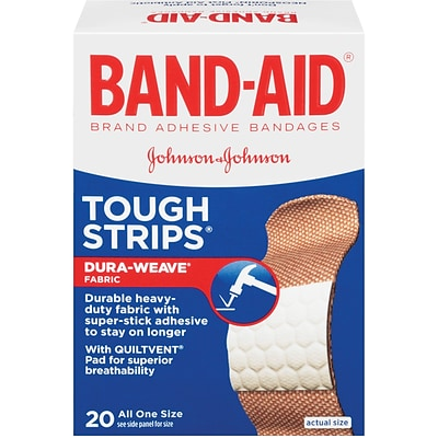 Band-Aid® Brand Adhesive Bandages, Tough-Strips®, 20 Bandages