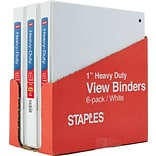 1 Staples® Heavy-Duty View Binder with Slant-D™ Rings, White, 6-pack, Tear-away Carton