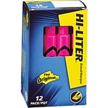 Avery Hi-Liter Desk Style Highlighter, Chisel Point, Fluorescent Pink Ink, 12/Pk (24010)