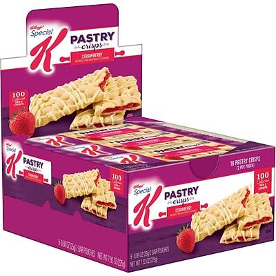 Special K Bars Pastry Crisps, Strawberry, 0.88 Oz., 9/Box (56923)