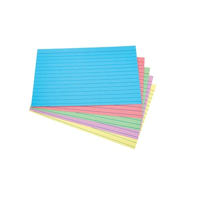 Quill Brand® 4 x 6 Line Ruled Assorted Pastel Index Cards, 100/Pack (51015)